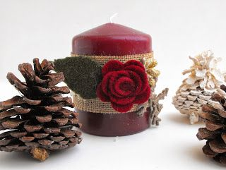 neat idea for we candle lovers, decorate them.  Burlap would do beautifully