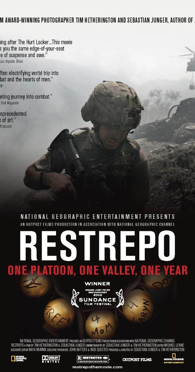 Directed by Tim Hetherington, Sebastian Junger.  With The Men of Battle Company 2nd of the 503rd Infantry Regiment 173rd Airborne Brigade Combat Team, Juan 'Doc Restrepo, Dan Kearney, LaMonta Caldwell. A year with one platoon in the deadliest valley in Afghanistan.