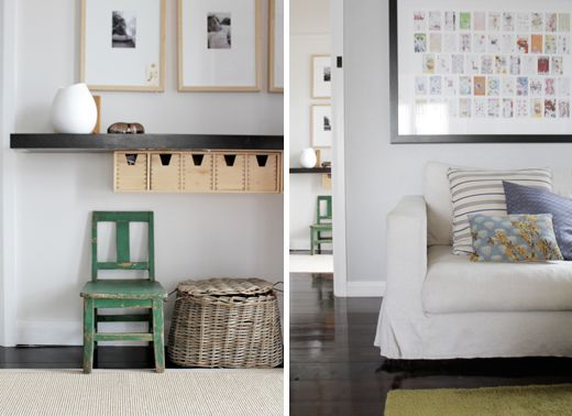 love the wall framed collages on the right