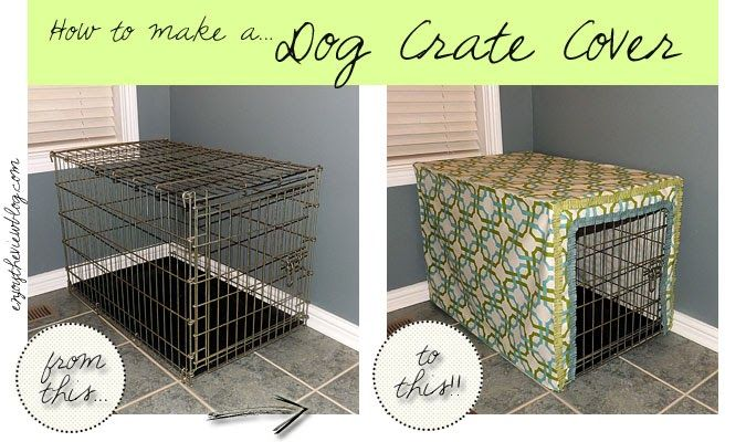 How to make a dog crate cover - without a pattern! It's easier than you think - and yes, you CAN do it! #dog #dogcrate #cratecover #diy #tutorial #diycratecover #enjoytheviewblog  #sponsored #waverize