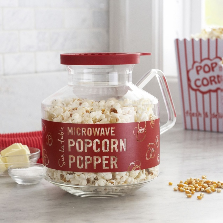 Sur La Table Microwave Popcorn Maker - make your own healthier (and cheaper) popcorn instead of buying bags. Use the silicone top to melt and drop butter onto the kernels as they pop or season with Parmesan and/or garlic powder for a healthy and tasty alternative to butter
