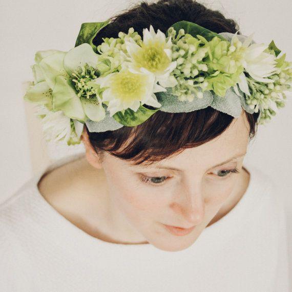 Pale Green and Ivory Lilac NIgella Spray Lamb's by OlannHandmade