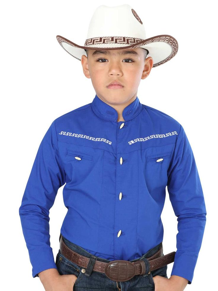 40360 Camisa Charra Niño El General, 65% Polyester,35% Algodon - Azul Cobalto