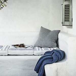The White Company | Pembridge Stripe Scatter Cushion. This lovely woven scatter cushion is made in India and features a smart blue and white stripe. Shopping from the UK? -> http://www.thewhitecompany.com/Pembridge-Stripe-Scatter-Cushion/p/GAHPD?swatch=White+Blue