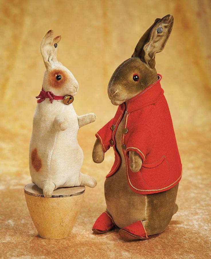 The Empress and the Child - Antique Dolls: 44 German Velvet Rabbit on Skittle by Steiff