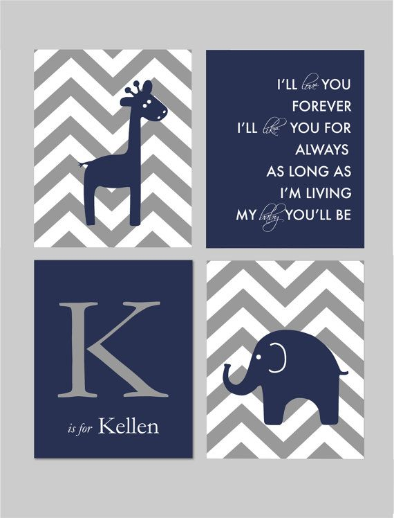 Love You Forever Sign Giraffe Nursery Elephant Nursery Chevron Nursery Navy and Gray Nursery Art by karimachal