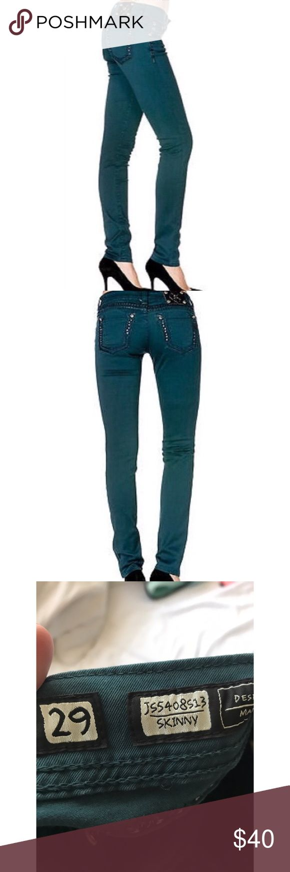 Miss Me Dark Teal Skinny Jeans with Embellishment Great condition Miss Me mid-rise skinny jeans in Dark Teal. Size 29. Cute embellishments on the back pockets! Miss Me Jeans Skinny
