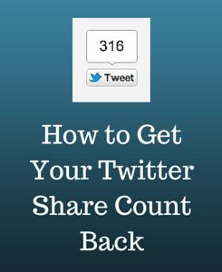 Are you a blogger? Are you on Twitter? You gotta love this one ;) => Three Easy Steps to Getting Your Twitter Share Count Back #TwitterMarketing