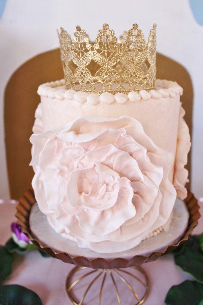 Cake from a Princess Birthday Party via Kara's Party Ideas | KarasPartyIdeas.com (31)