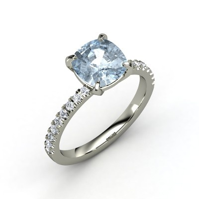 Cushion Aquamarine 14K White Gold Ring with Diamond - ; )