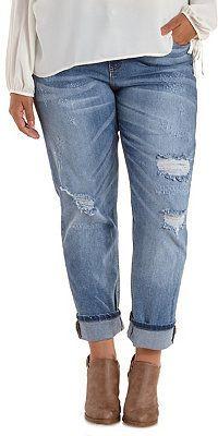 Plus Size Destroyed & Cropped Boyfriend Jeans