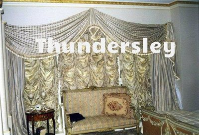 Traditional Window Treatment, Swags & Tails Curtains, Striped Silk