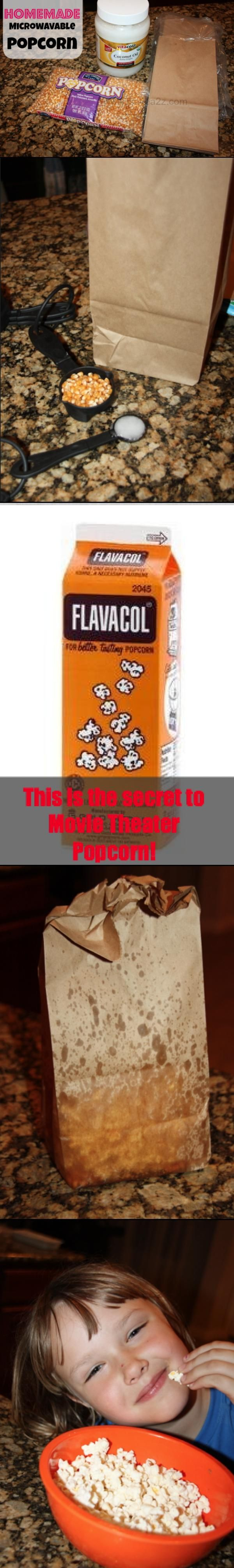 Here's the secret to make homemade microwavable popcorn that taste just like the kind you get at the movies!!!