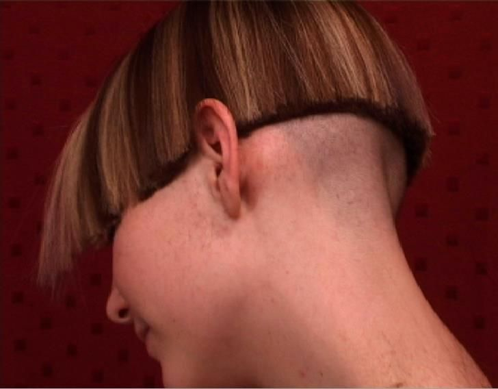 Are not shaved her nape that's