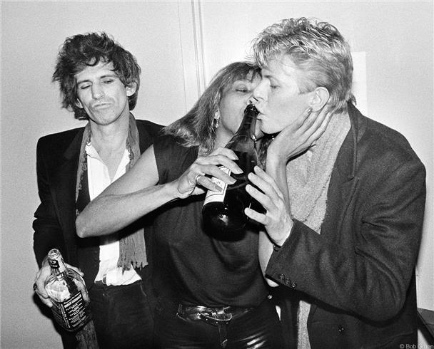 Keith Richards, Tina Turner & David Bowie, NYC 1983 | Bob Gruen