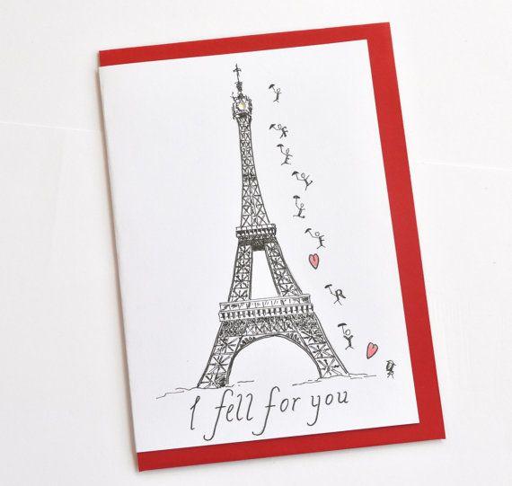 French Valentine Paris Greeting Card
