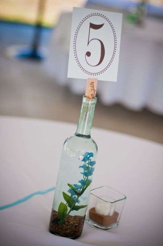 flower inside and table number on top