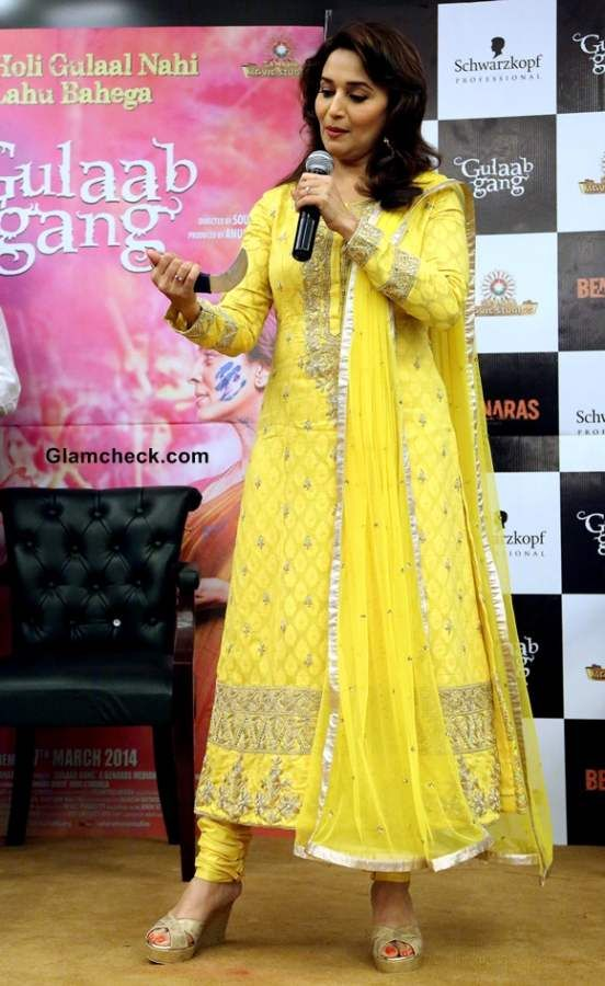 Madhuri Dixit in Yellow Anarkali 2014 at Gulaab Gang Promotions