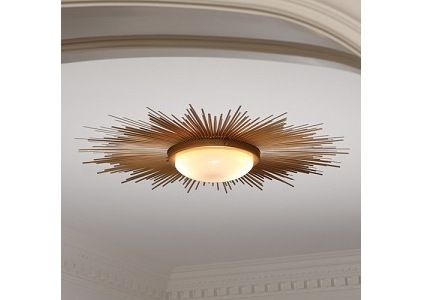"Low profile chandeliers for low ceilings. Remember the rule: Lowest part of the light should hang no lower than 6'8"" from floor. With 8' ceiling that gives you only 16"" depth to a light. This light is $640. Take a mirror frame and mount it around a round fixture and you've got the same thing for 1/5th the price."