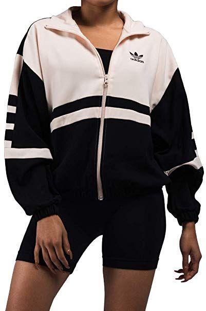 6ab19c200 adidas Originals Women's Racing Track Top Neon Logo Colorblock Jacket-BLACK  LINEN_XS