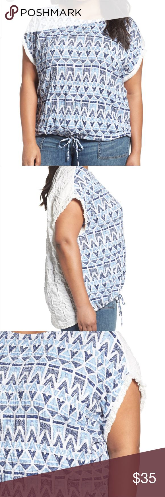 """Caslon Ikat drawstring top plus 2X blue fringe Details  An ikat-inspired print with the look of embroidery, plus fringe trim at the sleeves, puts a summery spin on a drop-shoulder top of puckered stretch cotton. Adding to the easygoing casual look, a drawstring cinches the front hem.  Bust: 28""""  - 25"""" front length; 27"""" back length (size 2X)  - Slips on over head  - Scooped neck  - Short sleeves with fringe trim  - Front drawstring hem  - 99% cotton, 1% spandex  - Machine wash, line dry…"""