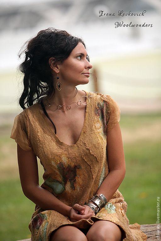 """Купить Платье ручной работы """"Золото Скифов"""" - дизайнерская одежда, подарок для женщины, универсальное платье"""