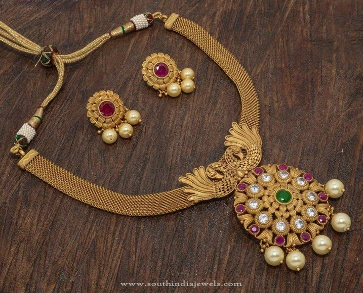 1 Gram Gold Antique Necklace Designs with Price, Latest Model 1 Gram Gold Necklace with Earrings 2016.