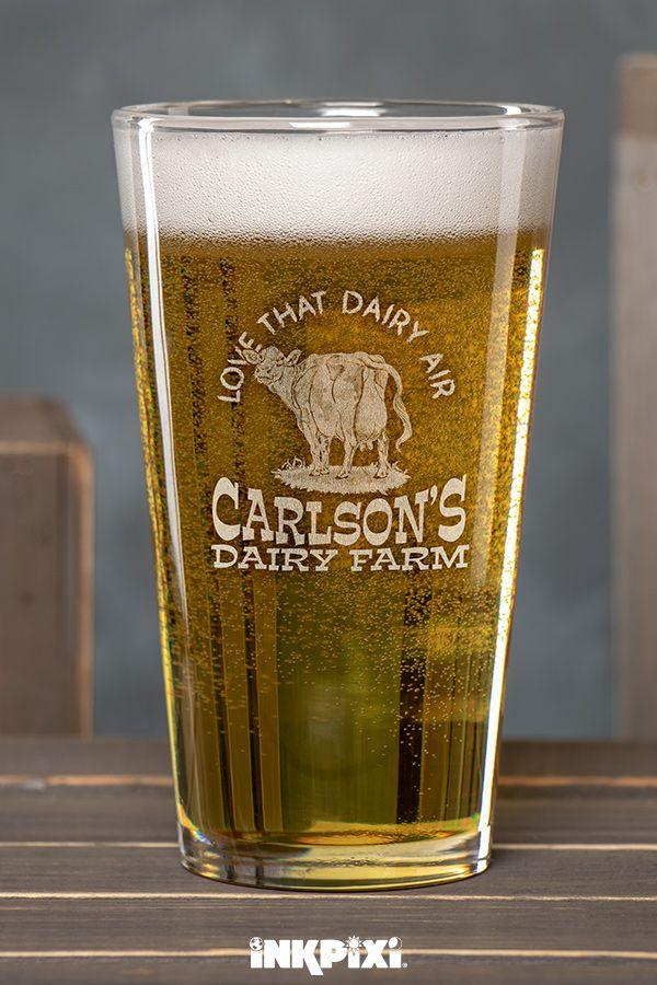 Dairy Air Clear Pint Glass Engraved Single Custom Pint