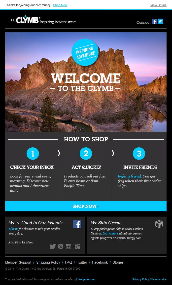 28 best welcome emails images on pinterest email newsletters the clymb welcome email pronofoot35fo Gallery