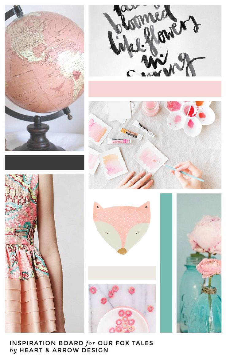 Soft pink color inspiration board // by Heart & Arrow
