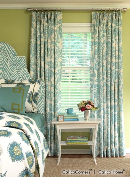 blue window treatments from calico corner