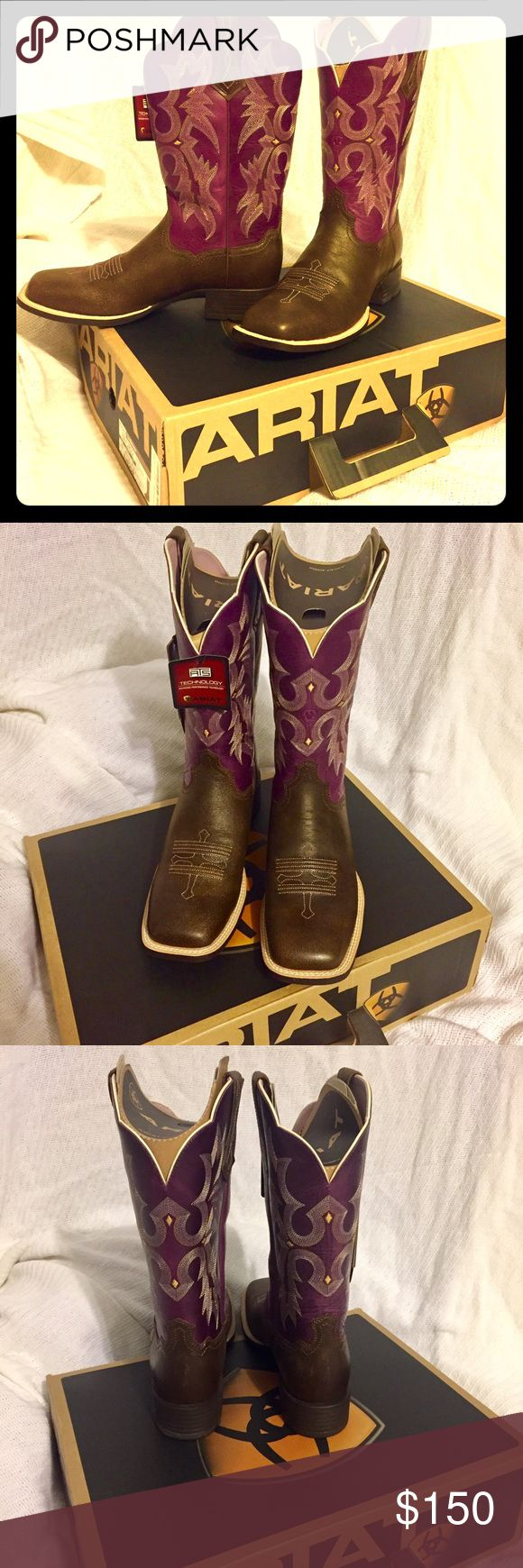 NWT Ariat Square Toe Boots Everyone knows Ariat makes the best & most comfortable boots around. And as a bonus they last forever. These babies are square toe as shown above.                                                                     Tags : western cowboy cowgirl square toe pull on ridding purple brown Ariat Shoes