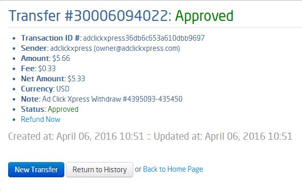 Here is my Withdrawal Proof from AdClickXpress. I get paid daily and I can withdraw daily. Online income is possible with ACX, who is definitely paying - no scam here. I WORK FROM HOME less than 10 minutes and I manage to cover my LOW SALARY INCOME. If you are a PASSIVE INCOME SEEKER, then AdClickXpress (Ad Click Xpress) is the best ONLINE OPPORTUNITY for you!!!