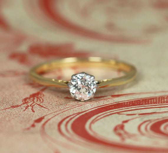 Old Cut Diamond Solitaire Engagement Ring by HOLTSJewellery