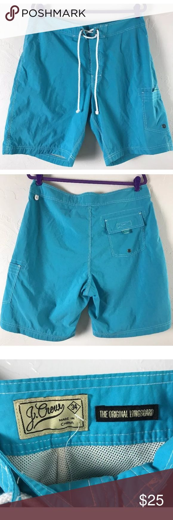 "J.Crew Mens Long Board Swim Trunks Sz 34 W/ Mesh J Crew the Original Longboard Shorts Waist 34"" Inseam 8 1/2"" Length 21 1/2"" Color Blue Made in China J. Crew Shorts"