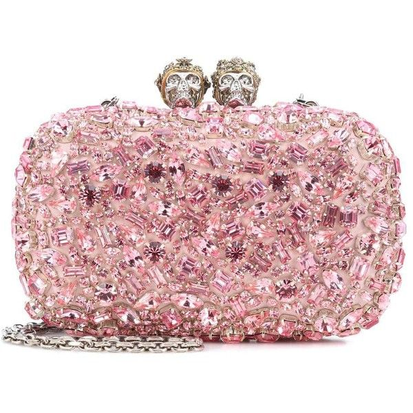 Alexander McQueen Queen and King Embellished Clutch ($4,400) ❤ liked on Polyvore featuring bags, handbags, clutches, pink, alexander mcqueen purse, embellished purse, pink handbags, pink purse and pink clutches