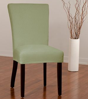 Montgomery II Sage Dining Chair Slipcover. Deeply embossed box pattern with a soft luscious surface. form fitting upholstery. Rrenovation, beautiful interior design, chic home decor.