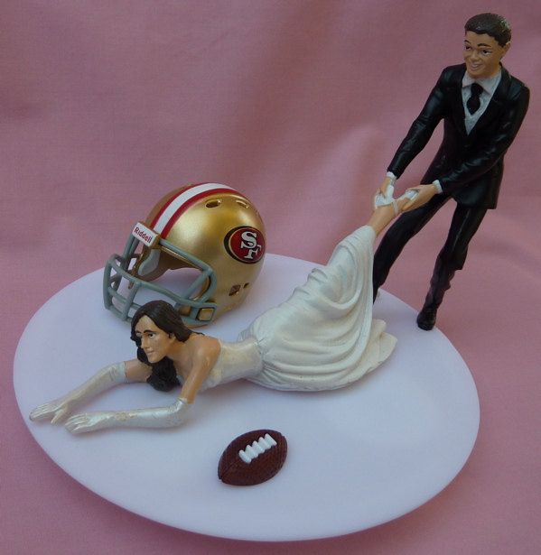 HAHAHA, YUP THIS IS SOOOO MEEEE!!!  Cake Topper San Francisco 49ers SF G Football by WedSet, $59.99