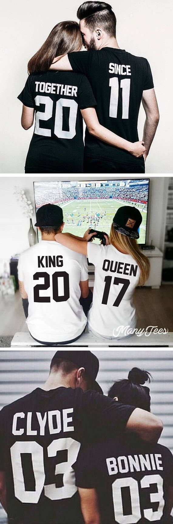 The cutest couples tee shirts- just found my next anniversary gift. These are SO cuuuute! #anniversarygift #couplestshirts #romantictees {aff}