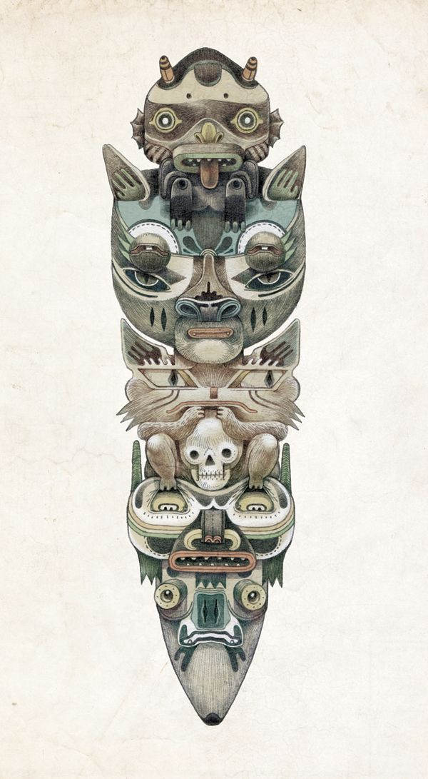 totem Illustration - would love this design on a snowboard!!!!