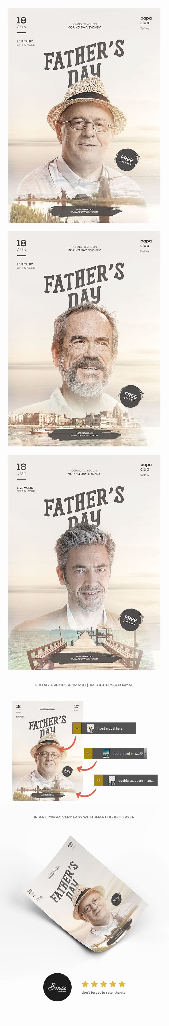 Father's Day flyer template for Photoshop. Check it out https://graphicriver.net/item/fathers-day-flyer/20087432 #flyer #poster #adobe #photoshop #psd #template #fathers #father #day #father's #ideas #creative #concept #inspiration #ads #advertisements #double #exposure #dramatic #cinematic #portrait #man