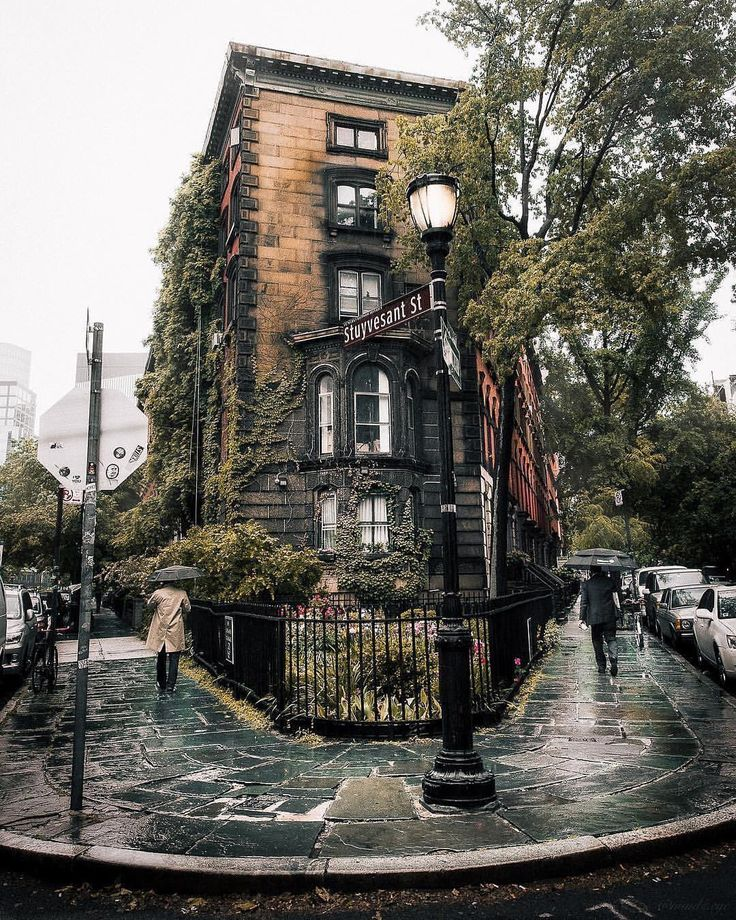Stuyvesant Street New York City on a rainy day