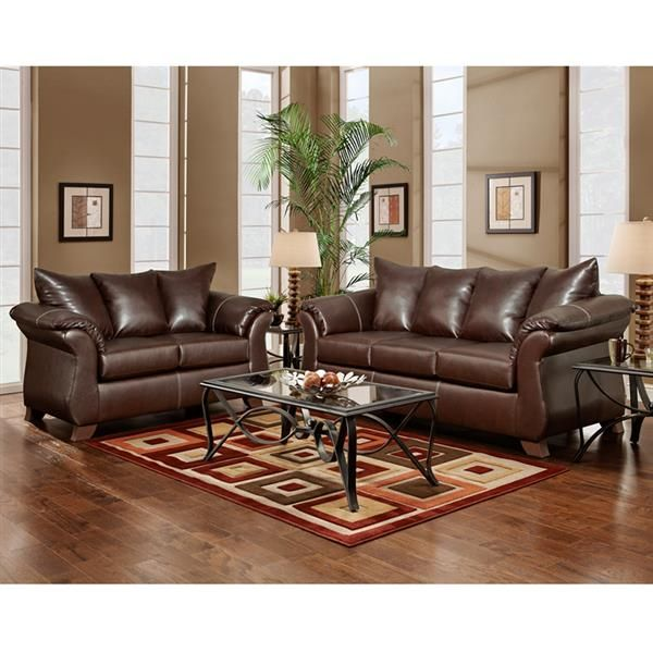 Taos Mahogany Bonded Leather Pu Wood Living Room Set Living