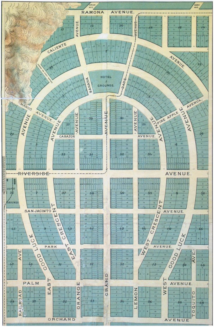 """""""Map of unrealized Palmdale neighborhood in Palm Springs, 1888. You could have lived on Good Luck Avenue."""""""