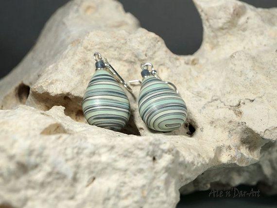 Polymer clay earrings beads earrings mint earrings by AlenDarArt