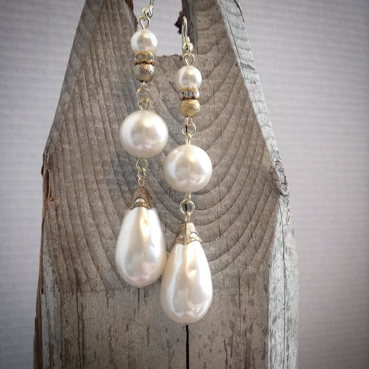Beautiful faux baroque pearl drop earrings. Perfect bridal accessory! Made by Catherine Otto