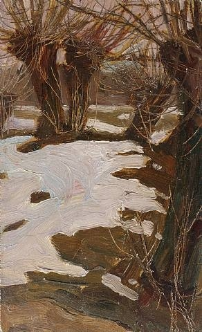 Winterlandscape with Willows by Egon Schiele