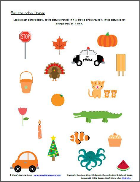 Color Recognition Find the Color Orange Preschool
