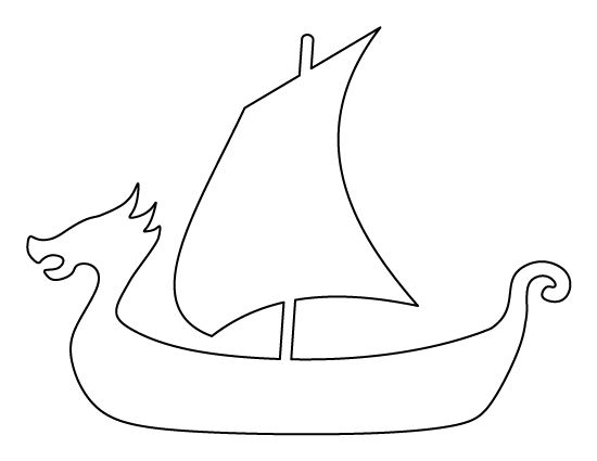 Viking ship pattern. Use the printable outline for crafts, creating stencils, scrapbooking, and more. Free PDF template to download and print at http://patternuniverse.com/download/viking-ship-pattern/