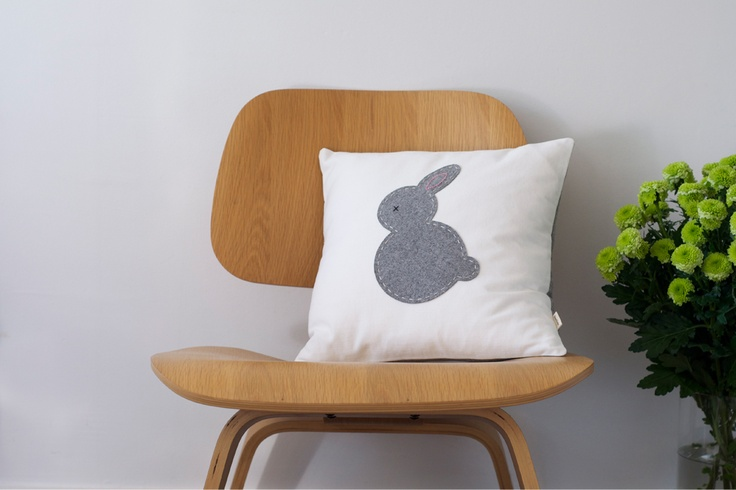 Grey Bunny Cushion - 100% Wool & Cotton